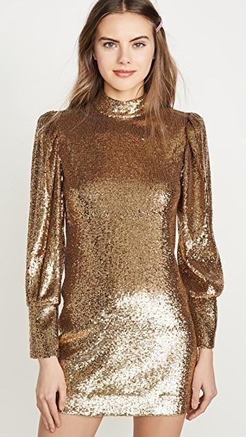 vestido corto mangas largas dorados