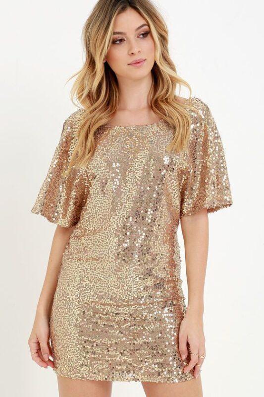 vestido mangas cortas glitters dorados