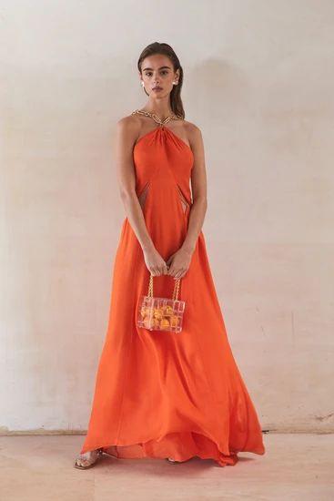 vestido naranja largo de noche