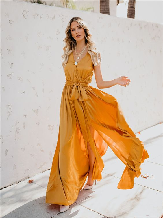vestido naranja para noche