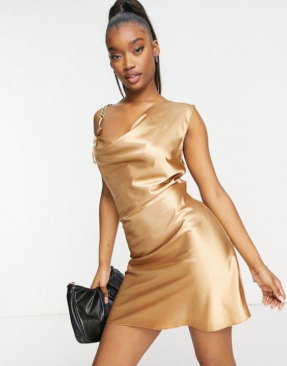 vestidos dorado corto para ir a bailar