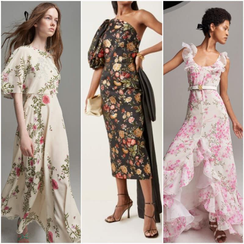 Vestido de noche de fiesta estampados florales 2022